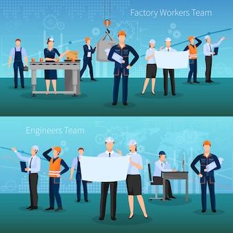 Conjunto de banners de equipe de trabalhadores de fábrica