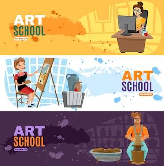 Conjunto de banners de escola de arte
