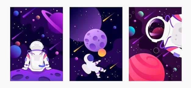 Conjunto de banners de espaço escuro