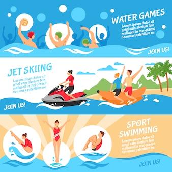 Conjunto de banners de esporte de água
