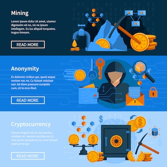 Conjunto de banners de estilo plano de moeda virtual
