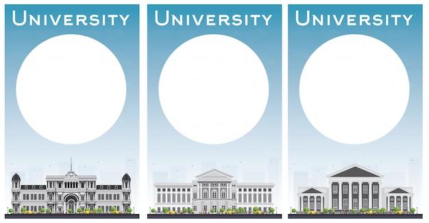 Conjunto de banners de estudo universitário com.