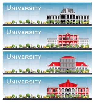 Conjunto de banners de estudo universitário. skyline com céu azul e árvore verde.