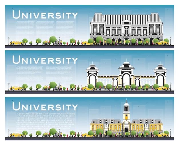 Conjunto de banners de estudo universitário