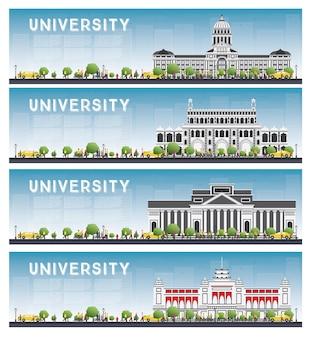 Conjunto de banners de estudo universitário.