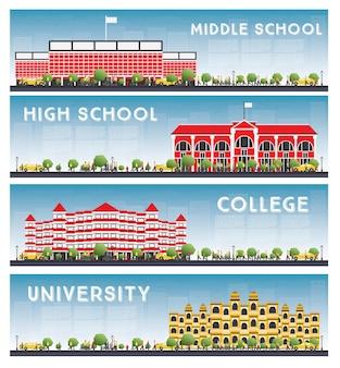 Conjunto de banners de estudos em universidades, escolas secundárias e faculdades.