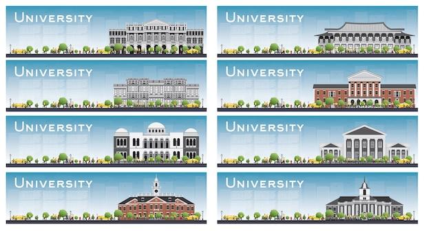 Conjunto de banners de estudos universitários