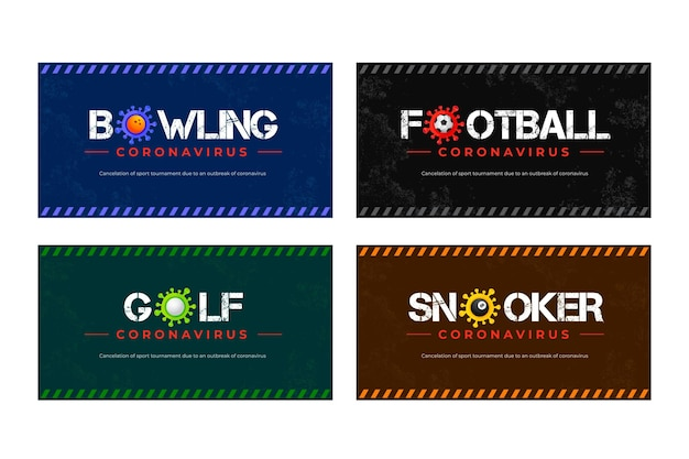 Conjunto de banners de eventos esportivos cancelados