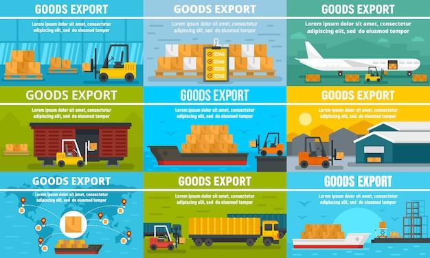 Conjunto de banners de exportação de mercadorias