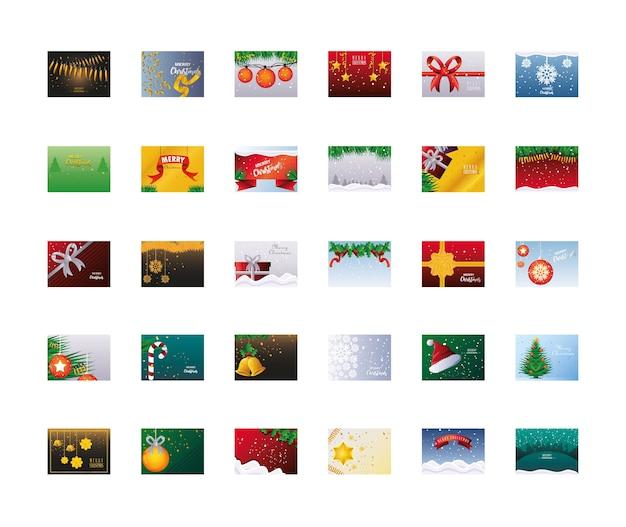 Conjunto de banners de feliz natal