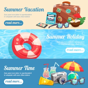 Conjunto de banners de férias de verão