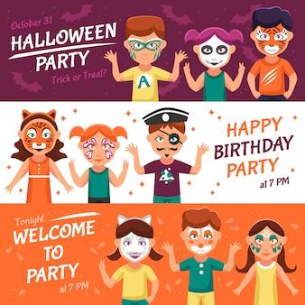 Conjunto de banners de festa com greasepaint