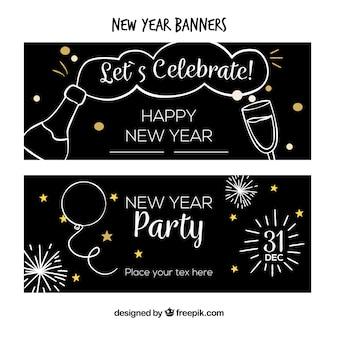 Conjunto de banners de festa de ano novo desenhados a mão simples