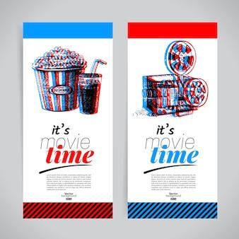Conjunto de banners de filmes. ingressos para o festival de cinema com ilustrações desenhadas à mão.