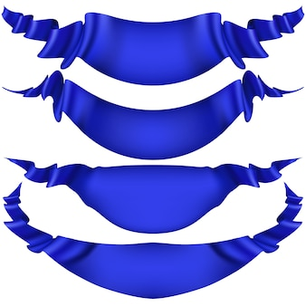 Conjunto de banners de fita azul em fundo branco.