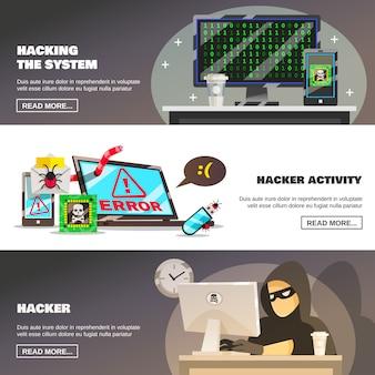 Conjunto de banners de fraude de rede