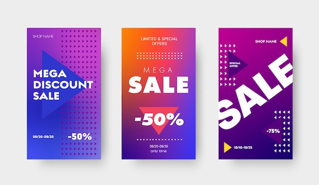 Conjunto de banners de gradiente de vetor roxo com triângulos e um desconto de 50 e 75% para uma grande venda, ofertas especiais. modelo de design para mídia social, histórias e aplicativos móveis.