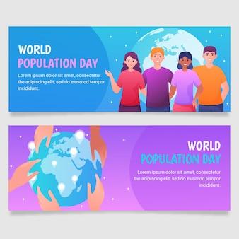 Conjunto de banners de gradiente do dia da população mundial
