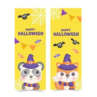 Conjunto de banners de halloween com animais fofos.