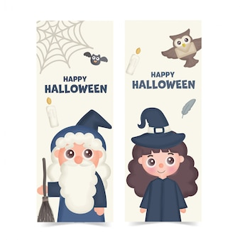 Conjunto de banners de halloween com bruxa bonita.