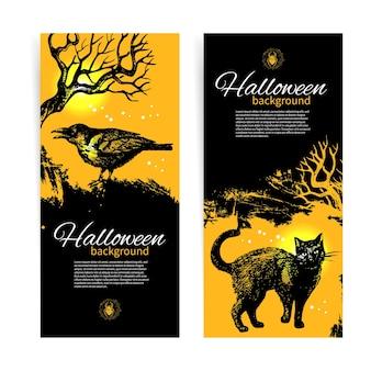 Conjunto de banners de halloween. ilustração desenhada à mão