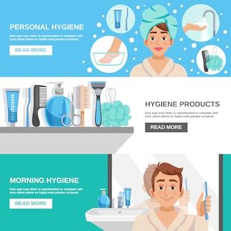 Conjunto de banners de higiene matinal