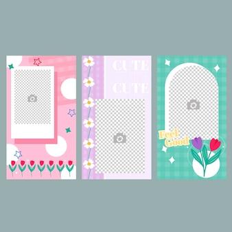 Conjunto de banners de histórias de mídia social design de banner de primavera