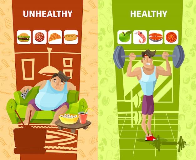 Conjunto de banners de homem saudável e insalubre