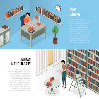 Conjunto de banners de horas de biblioteca