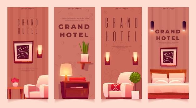 Conjunto de banners de hotéis planos