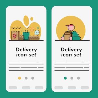 Conjunto de banners de ícones de entrega de comida