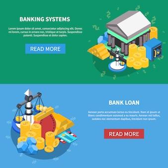 Conjunto de banners de ícones isométrica financeira