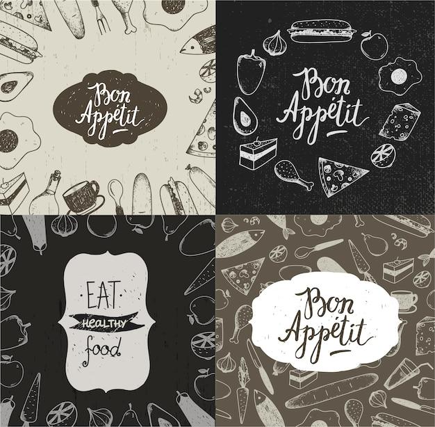 Conjunto de banners de ilustração de comida, cartazes, cartões, capas. legumes, frutas, carnes, peixes, sobremesas desenhadas à mão fundos estilo vintage