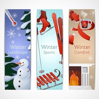 Conjunto de banners de inverno