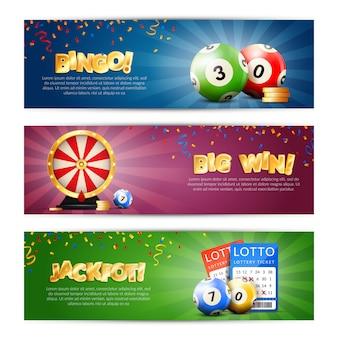 Conjunto de banners de jackpot de loteria
