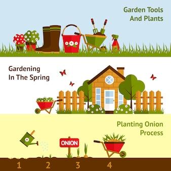 Conjunto de banners de jardinagem
