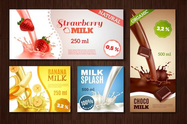 Conjunto de banners de leite