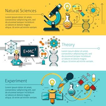 Conjunto de banners de linha de ciência