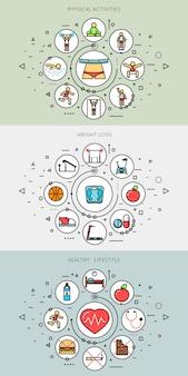 Conjunto de banners de linha fina de estilo de vida saudável e fitness