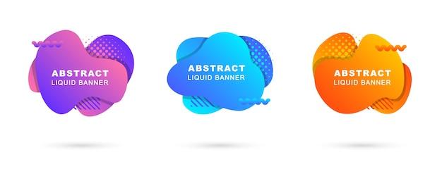 Conjunto de banners de líquidos abstratos com elementos no estilo de memphis.