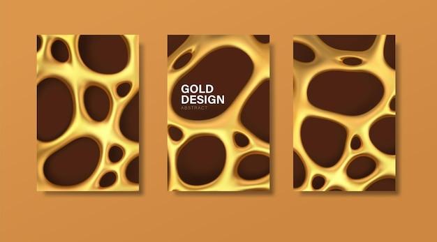 Conjunto de banners de luxo com malha irregular orgânica dourada abstrata com orifícios