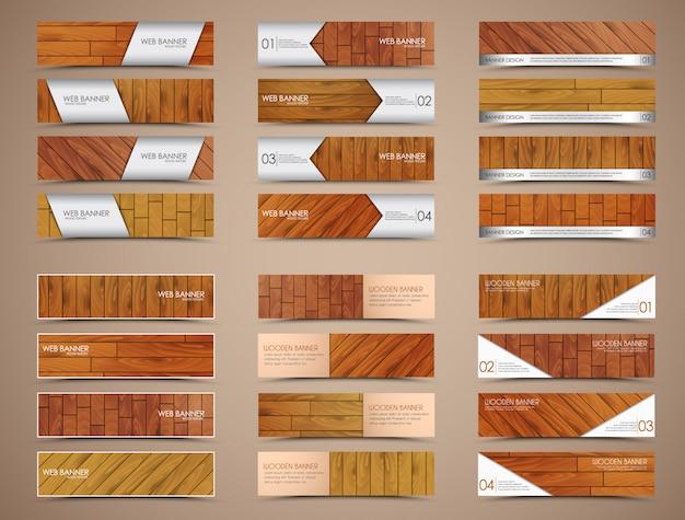 Conjunto de banners de madeira para web