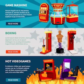 Conjunto de banners de máquina de jogo