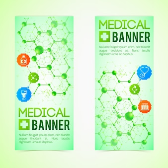 Conjunto de banners de medicina e diagnóstico