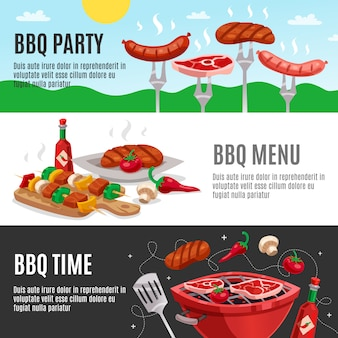 Conjunto de banners de menu de churrasco
