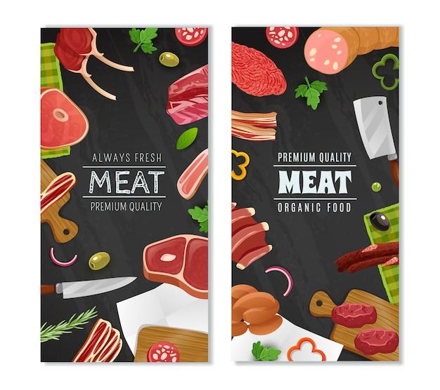 Conjunto de banners de mercado de carne
