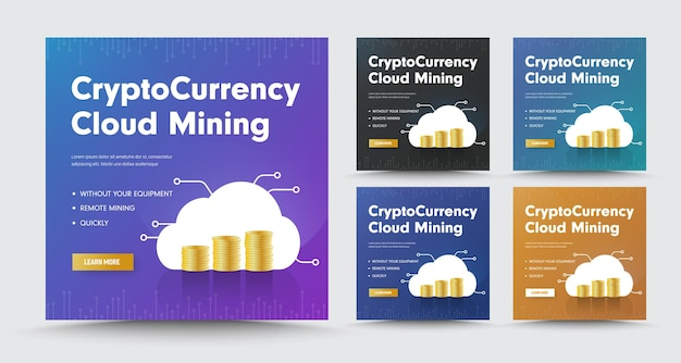 Conjunto de banners de mídia social com pilhas de moedas, para mineração em nuvem de criptomoedas.