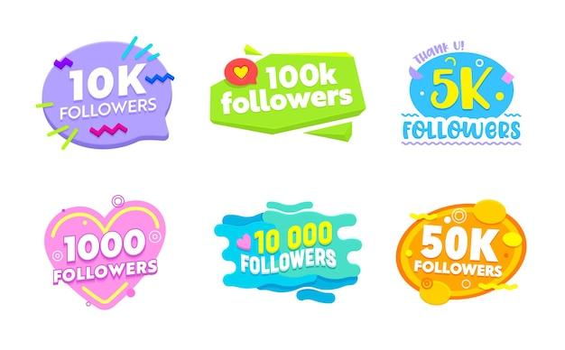 Conjunto de banners de mídia social com seguidores