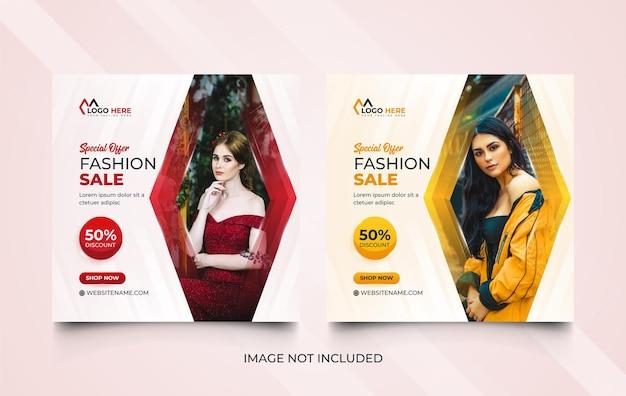 Conjunto de banners de mídia social de moda