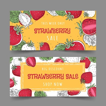Conjunto de banners de morango e frutas